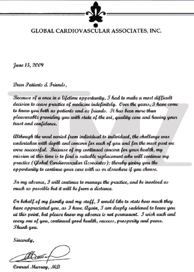 Michael Jackson's doctor Conrad Murray writes letter to patients
