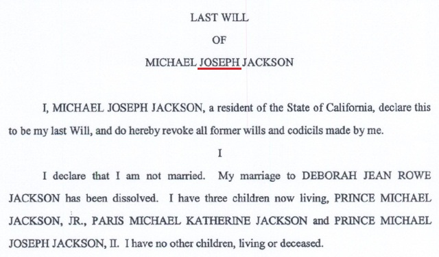 Last will of Michael Jackson