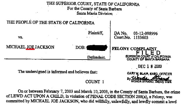 Michael Jackson's indictment