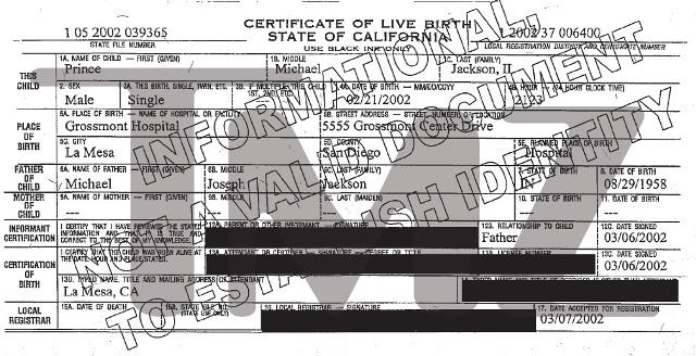 Birth certificate of Michael Jackson's youngest son