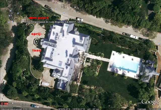Michael Jackson Carolwood Drive mansion areal view