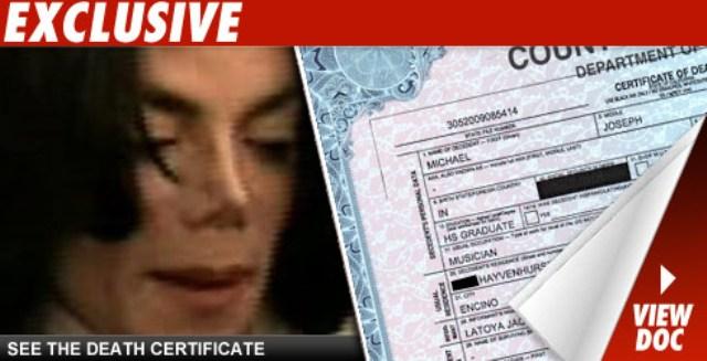 Michael Jackson's death certificate