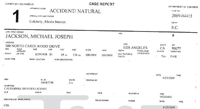 Michael Jackson's autopsy report