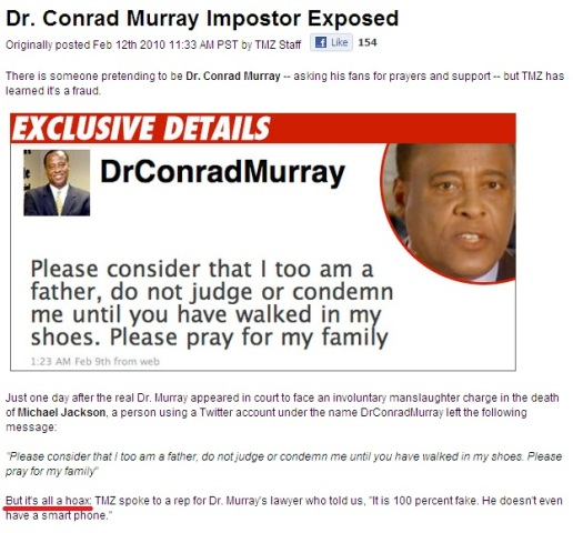 Conrad Murray imposter exposed