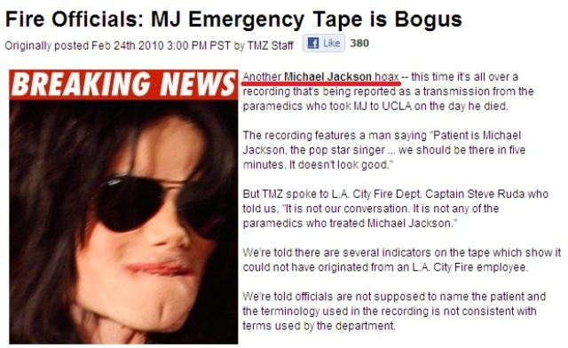 Michael Jackson emergency tape is bogus